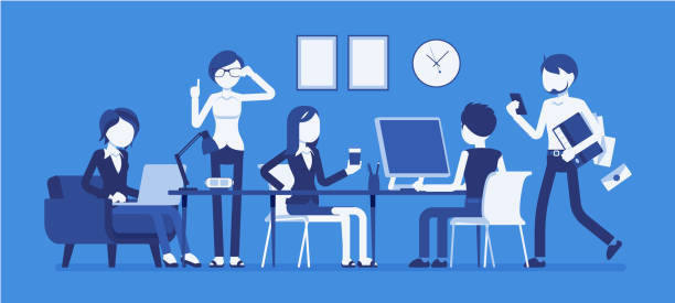 Busy day in a small office Busy day in a small office. People working together, close teamwork and communication, co-workers in friendly and noisy environment. Vector business concept illustration with faceless characters millennial generation stock illustrations