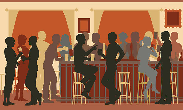 Busy evening bar vector art illustration