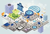 An isometric research center or school, with many floors. Full of people and icons of world, magnifier, book and email. A lot of devices as ebook reader, tablet, phone and computer included. Need some isometric characters and elements compatible with this illustration? Check out here.