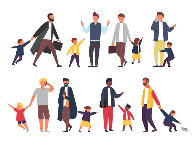 Busy father with naughty kids. Parents with children. Vector illustration Busy father with naughty kids. Working parents with children. Vector illustration parenting stock illustrations