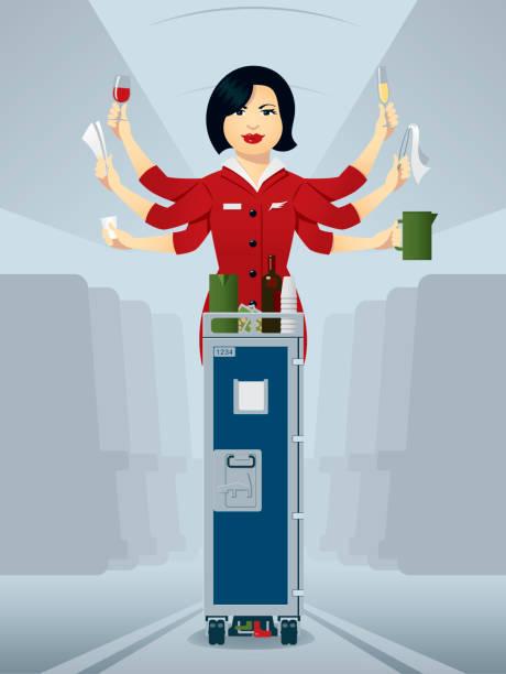 stockillustraties, clipart, cartoons en iconen met busy flight attendant, serving drinks of the trolley - stewardess