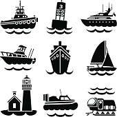 A vector illustration of various boats and ships that you might find in a busy harbor.