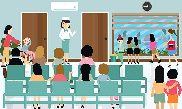 busy hospital corridor activities nurse patient in queue waiting doctor - old man sitting backgrounds stock illustrations, clip art, cartoons, & icons