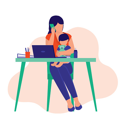 Busy Housewife And Businesswoman Working From Home. Business And Parenting Concept. Vector Illustration Flat Cartoon.
