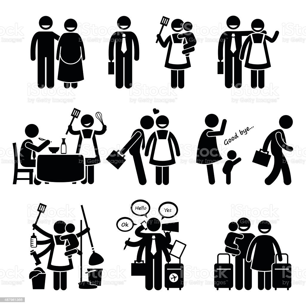Busy Husband and Wife Happy Couple Family Pictogram vector art illustration