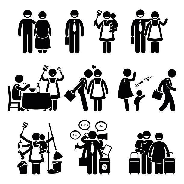 anstrengenden mann und frau paar familie pictogram - hausfrau stock-grafiken, -clipart, -cartoons und -symbole