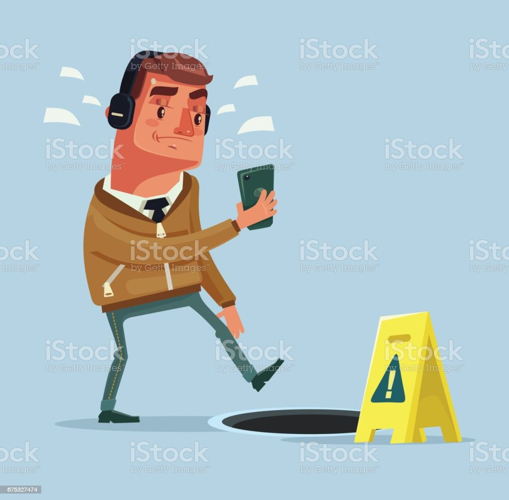 Busy man character going on the street listening to music by smartphone and did not see open manhole vector art illustration