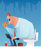 vector illustration of businessman working, eating and sitting on toilet…