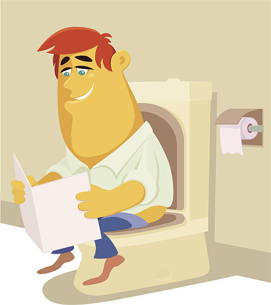 Royalty Free Man Sitting Toilet Cartoon Clip Art Vector