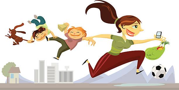 ilustraciones, imágenes clip art, dibujos animados e iconos de stock de madre corriendo alrededor de negocios - madre