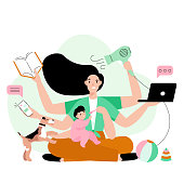 istock Busy mother doing a lot of work at home. Stressed mom with six hands keeping laptop, book, phone, hairdryer and feeding her child. 1261224342