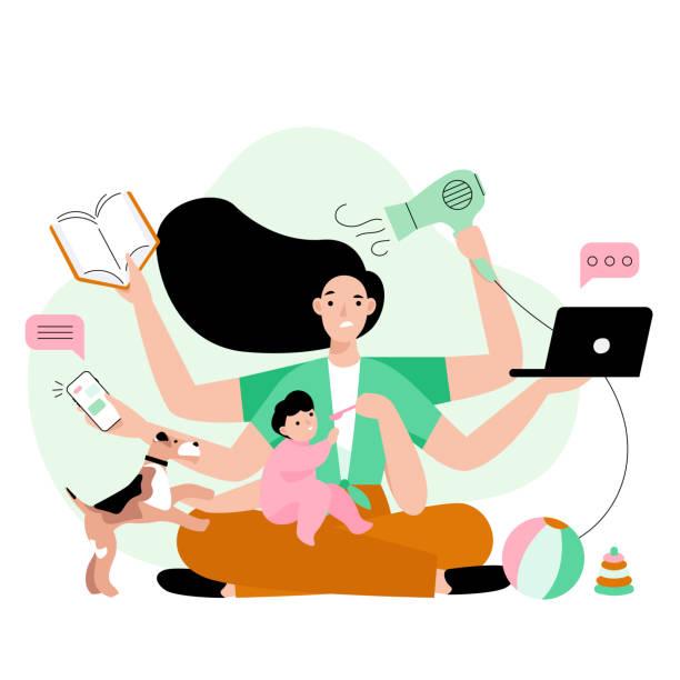 忙しい母親は家でたくさんの仕事をしています。ラップトップ、本、電話、ヘアドライヤーを維持し、彼女の子供を養う6手でお母さんを強調しました。 - 妻点のイラスト素材/クリップアート素材/マンガ素材/アイコン素材