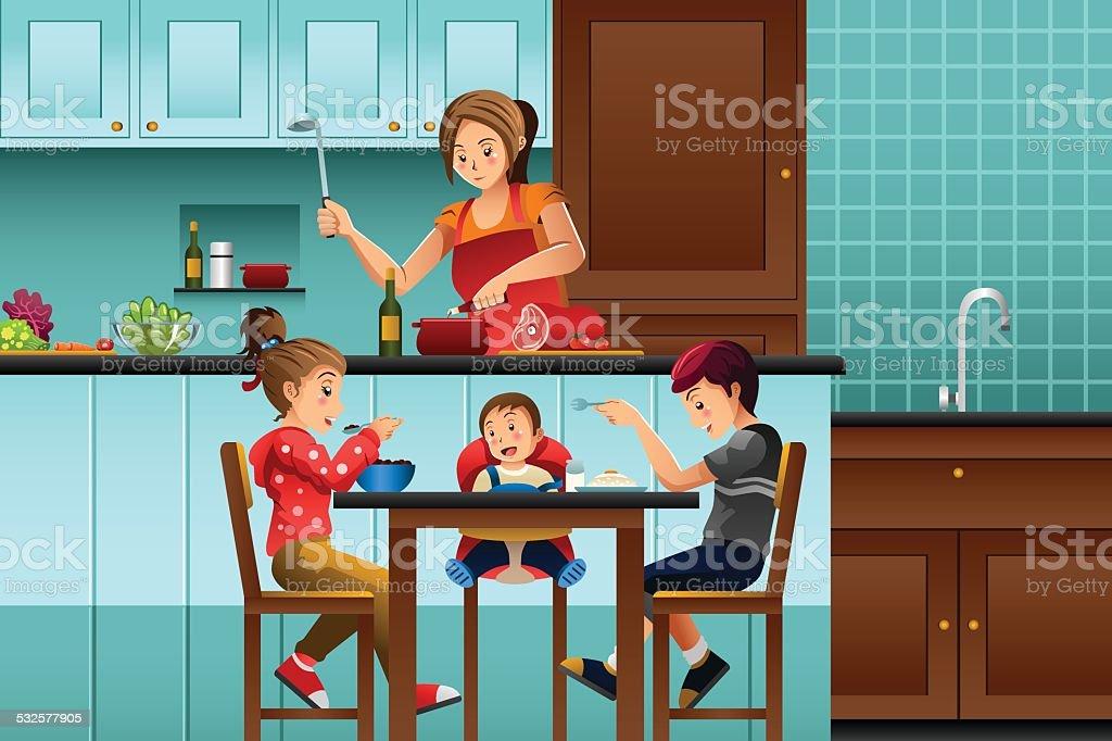 Longue mère dans la cuisine avec ses enfants - Illustration vectorielle