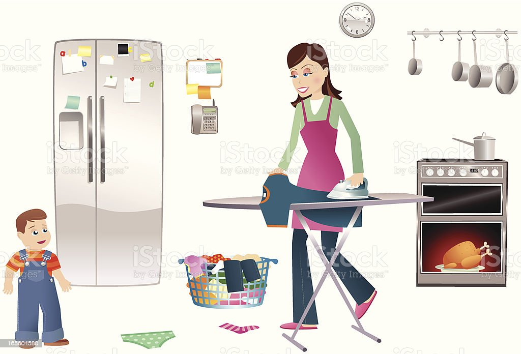 Busy mother ironing and cooking royalty-free stock vector art