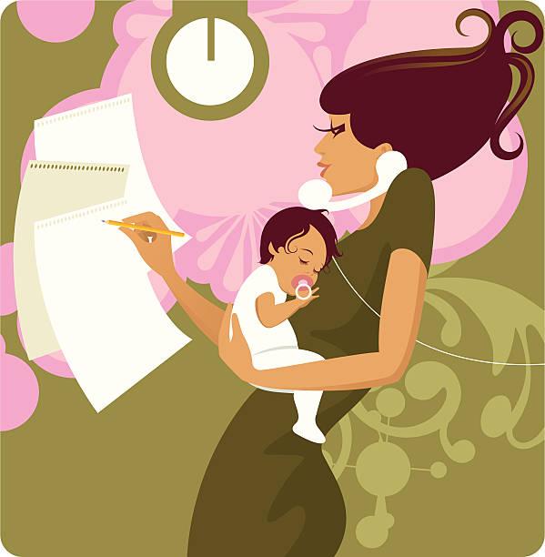 illustrations, cliparts, dessins animés et icônes de longue mère. - femmes actives