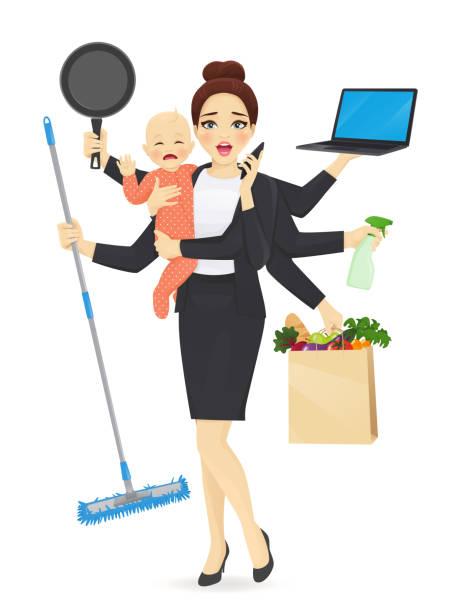 ilustrações de stock, clip art, desenhos animados e ícones de busy mother with baby - baby super hero