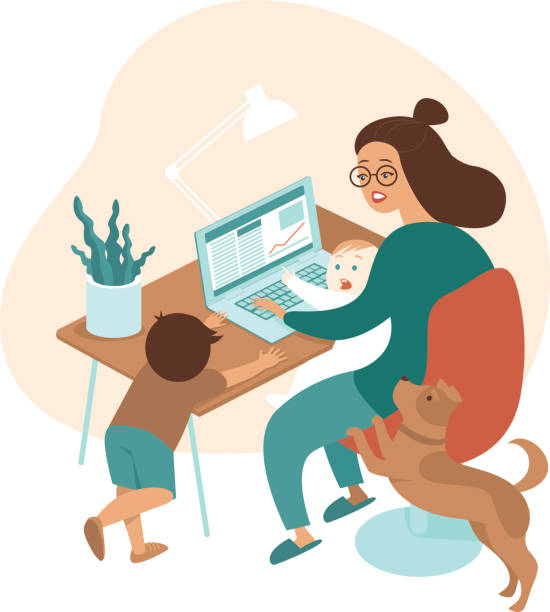 Busy mother working from home with kids and dog vector art illustration