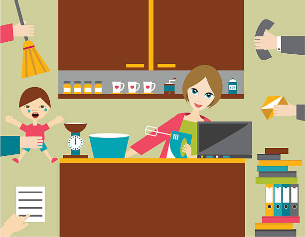 busy multitask woman, mother managing her work with smile. - busy restaurant kitchen stock illustrations