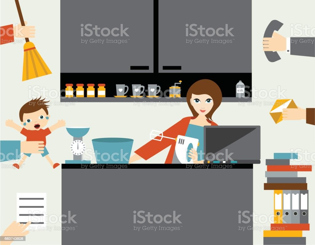 Busy multitask woman, mother managing her work with smile. - Illustration vectorielle