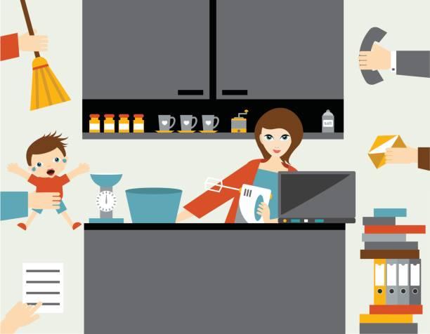 illustrations, cliparts, dessins animés et icônes de busy multitask woman, mother managing her work with smile. - femmes actives