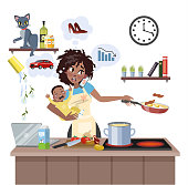 Busy multitasking african american mother with baby failed at doing many thing at once. Tired woman in stress with messy around. Housewife lifestyle. Isolated flat vector illustration