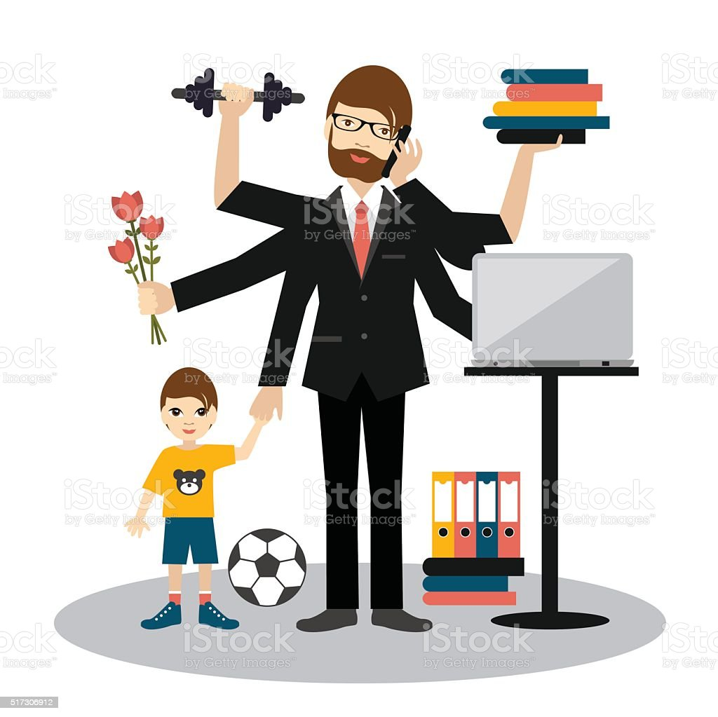 Busy multitasking man, father, dad, daddy, romantic husband, businessman, worker. vector art illustration