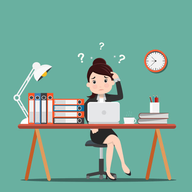Royalty Free Cartoon Of Beautiful Office Girl Busy Working Clip Art