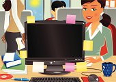 Illustration of a typical busy office. A large LCD monitor sits on the desk, while behind a girl sits in a chair and another woman walks through the scene holding papers. A man is sitting to the rear of the office in a cubicle space. Plenty of copy space for your own messages.