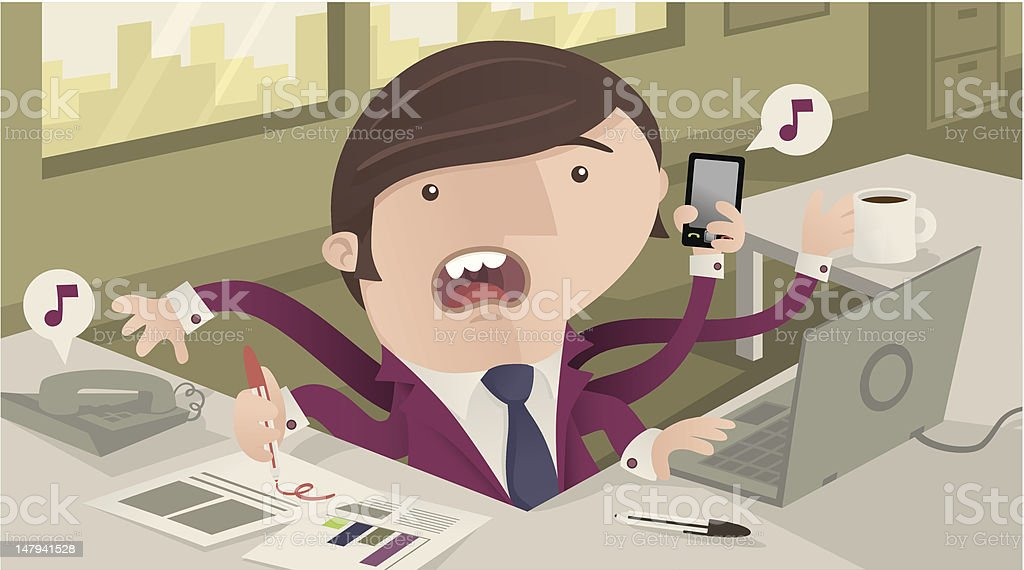 Busy Office Worker royalty-free busy office worker stock vector art & more images of ballpoint pen