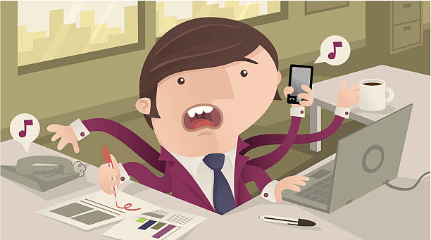 Busy Office Worker vector art illustration