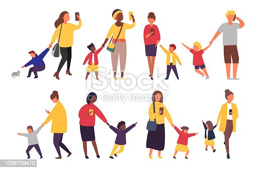 Busy parents with mobile smartphones. Children want attention from adults. People with kids vector illustration