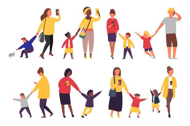 bildbanksillustrationer, clip art samt tecknat material och ikoner med stressade föräldrar med mobila smartphones. barnen vill ha uppmärksamhet från vuxna. vektorillustration - parent talking to child