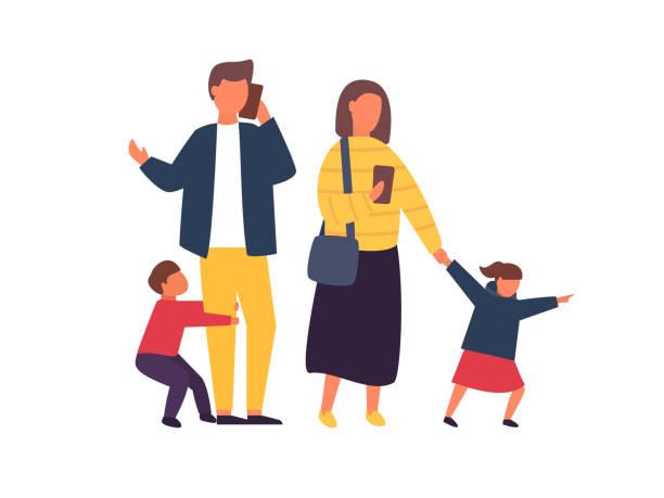 bildbanksillustrationer, clip art samt tecknat material och ikoner med stressade föräldrar med mobila smartphones. familj med barn. personer vektor illustration - parent talking to child