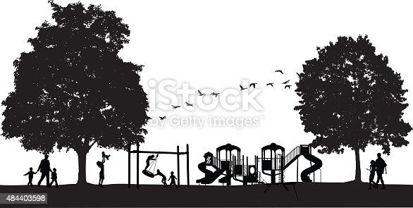 A vector silhouette illustration of a playground in a park with children playing on a tire swing and families near by.