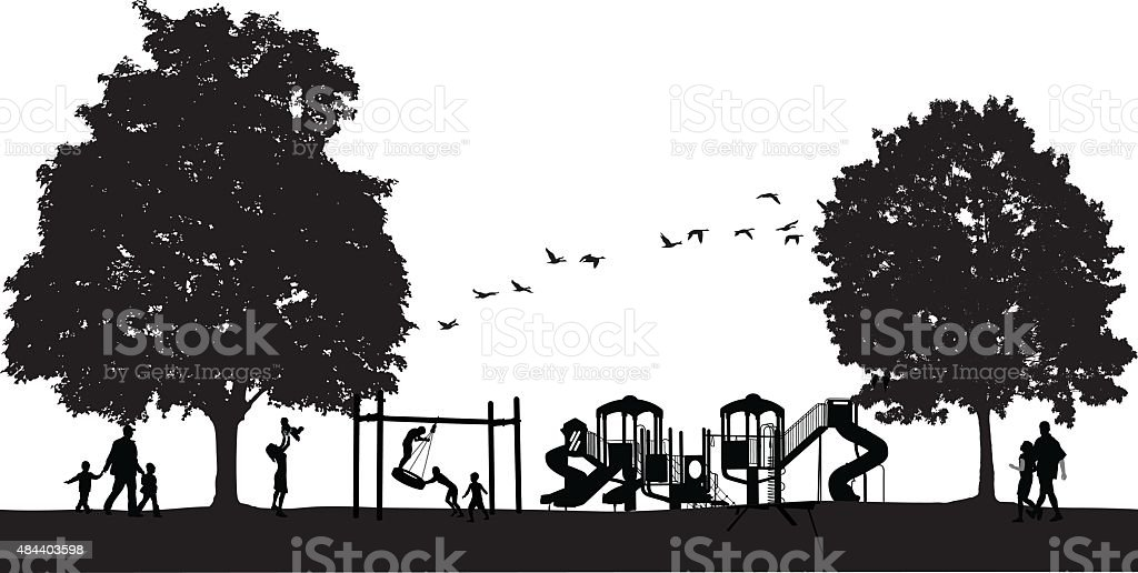 Busy Park Scene With Playground vector art illustration