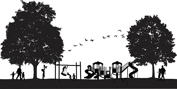 busy park scene with playground - recess stock illustrations, clip art, cartoons, & icons