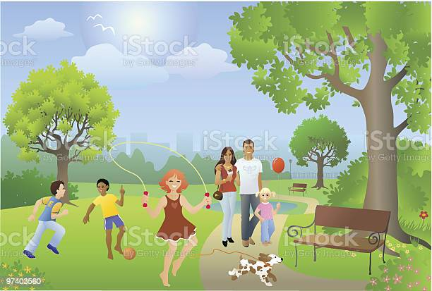 Busy park setting with people playing on sunny day vector id97403560?b=1&k=6&m=97403560&s=612x612&h=0b5djv4yj5b1ubtergesfepsj vml8or5wdvxmimvqs=