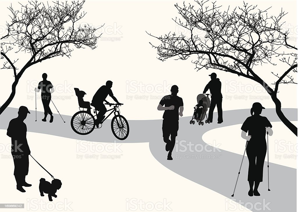 Busy Park Vector Silhouette royalty-free busy park vector silhouette stock vector art & more images of activity