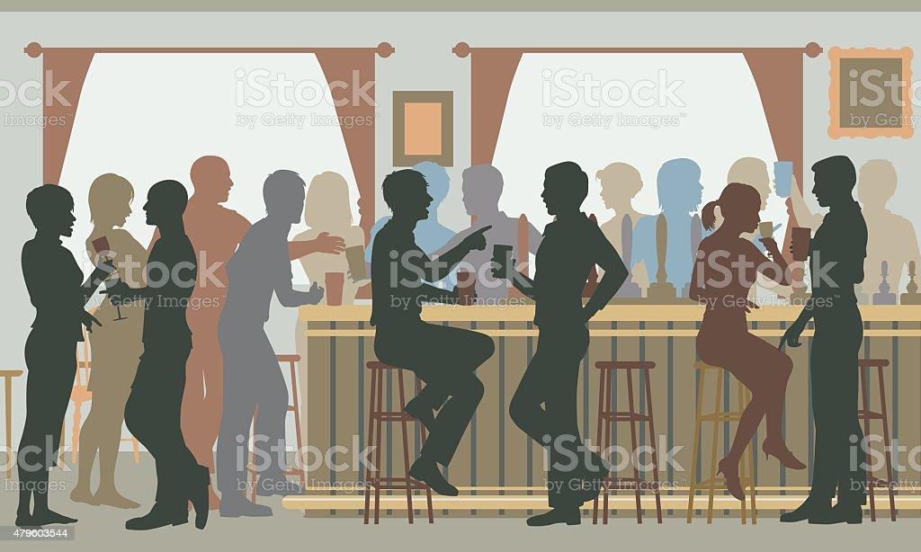 Busy pub bar vector art illustration