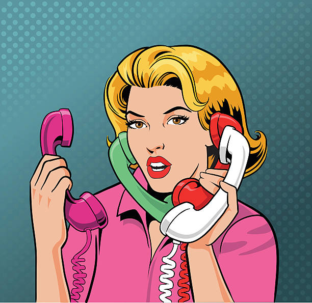 Busy Retro Style Woman Talking on Four Phones All images are placed on separate layers. They can be removed or altered if you need to. Some gradients were used. No transparencies.  switchboard operator vintage stock illustrations