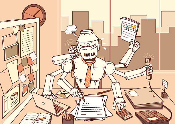 busy robot - robotics stock illustrations, clip art, cartoons, & icons
