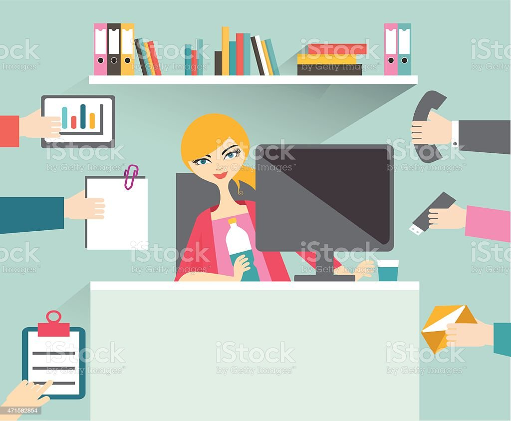 Busy secretary woman managing her work with smile and relax. vector art illustration