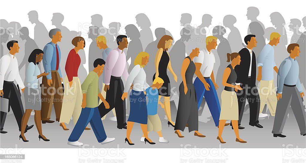 busy sidewalk royalty-free stock vector art