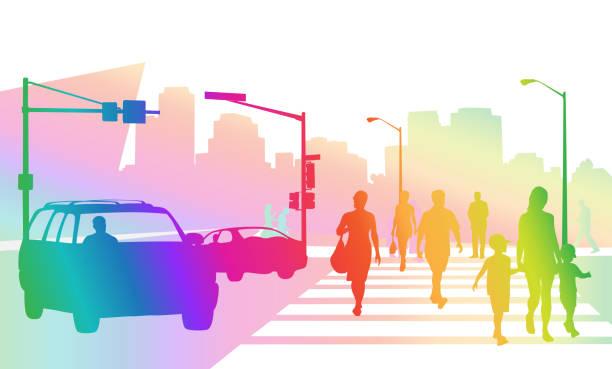 Belebten Bürgersteigen Regenbogen – Vektorgrafik