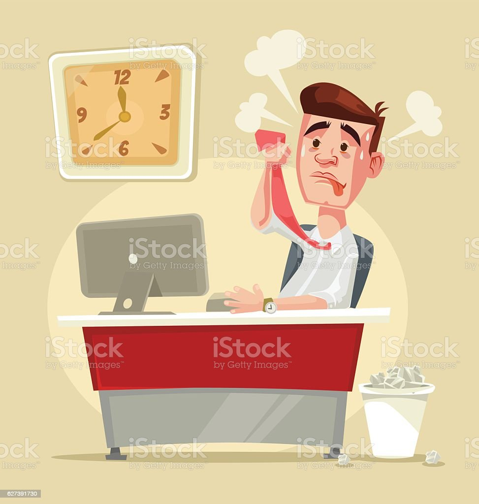 Busy stressful office worker character. Vector flat cartoon illustration vector art illustration