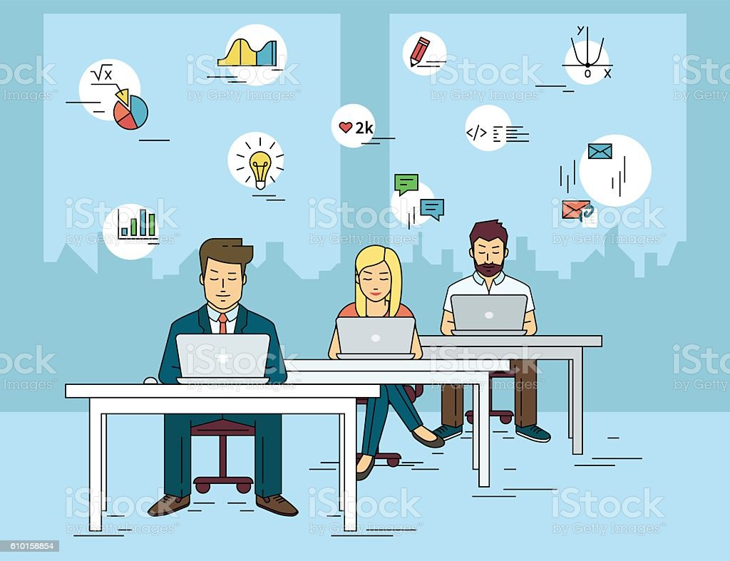Busy students learning in a university class vector art illustration