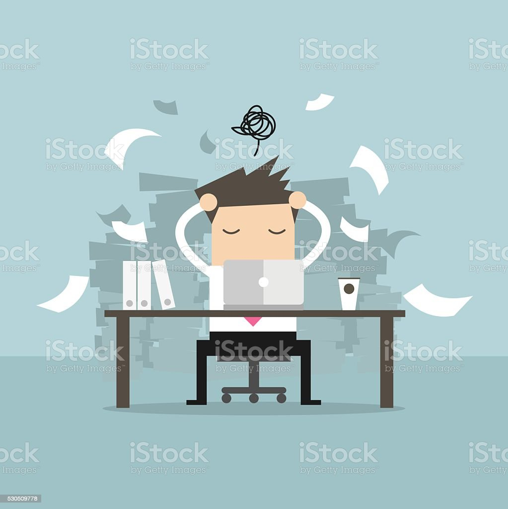 Busy time of businessman in hard working. vector art illustration