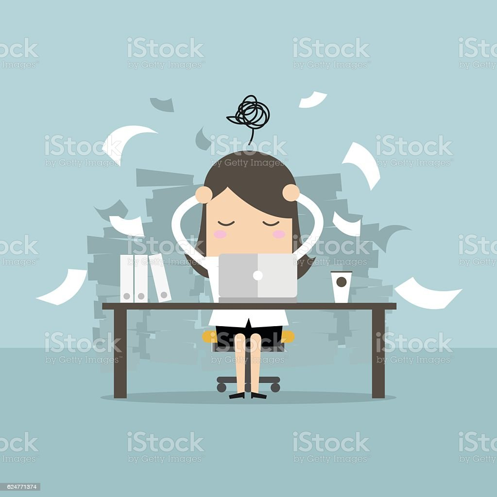 Busy time of businesswoman in hard working. vector art illustration
