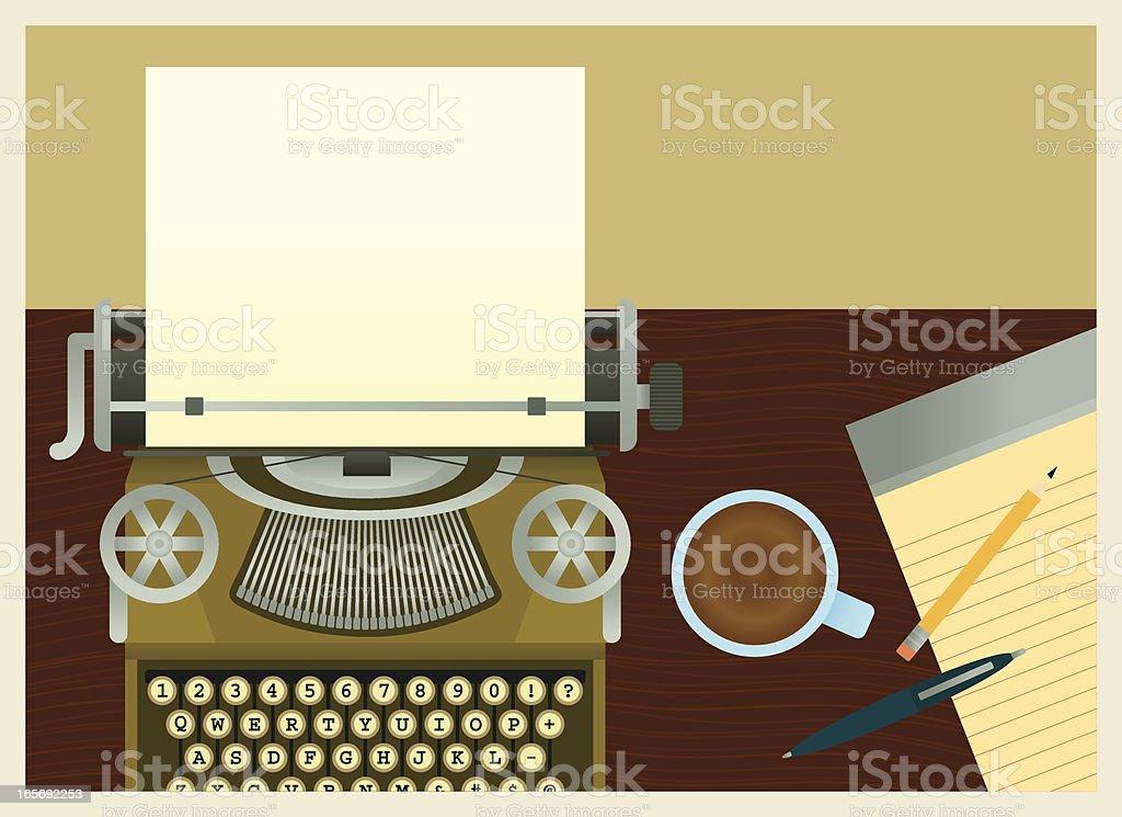 Busy Typewriter Desk royalty-free stock vector art