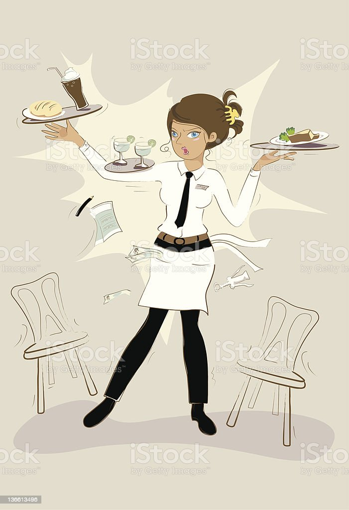 Busy Waitress Stock Illustration - Download Image Now - iStock